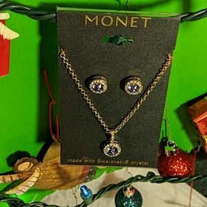 Monet Purple Crystal Necklace/Earrings Gift Set